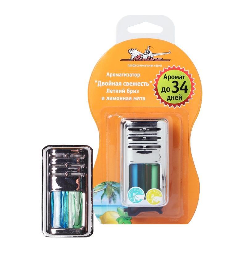 Ароматизатор на дефлектор гелевый Двойная свежесть летний бриз и лимонная мята AF-D03-SL