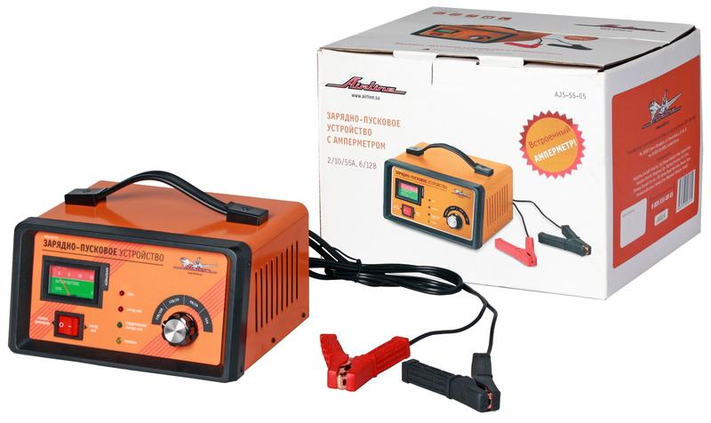 Зарядно-пусковое устройство 2/10/55А 6В/12В, амперметр, трансформаторное AJS-55-05
