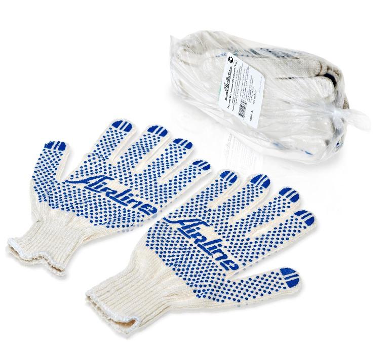 Перчатки комплект ХБ с точечным ПВХ покрытием (5 пар) AWG-C-01