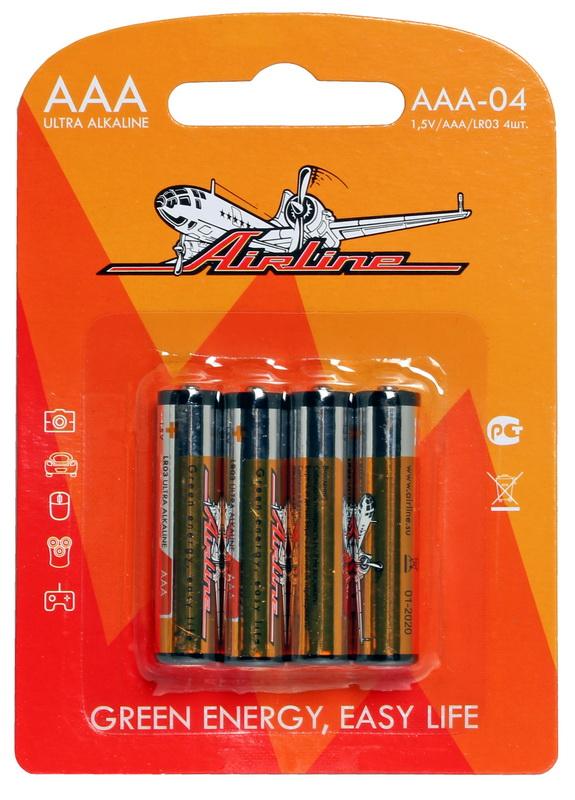 Батарейки LR03/AAA щелочные 4 шт. AAA-04
