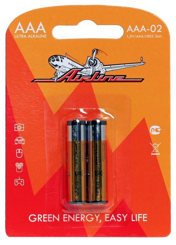 Батарейки LR03/AAA щелочные 2 шт. AAA-02